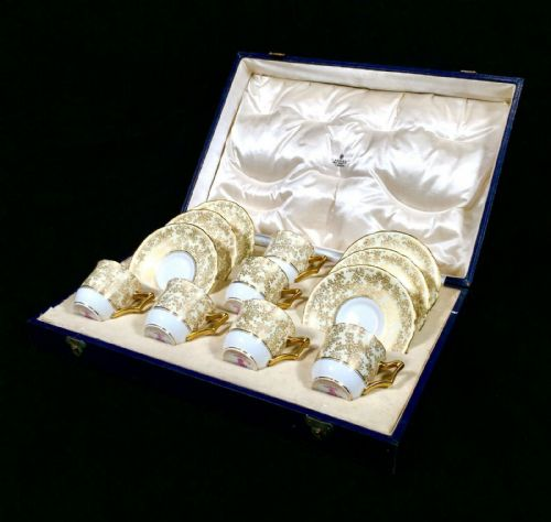 Antique Royal Worcester Cased Coffee / Tea Set for Asprey of London / c.1934